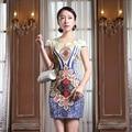 2015 de Manga Curta Silm Tradição Chinesa Mulheres Vestido Grande Flor Do Vintage Curto Cheongsam Vestido Qipao Sexy Com Flor JQY18