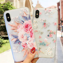 Floral Case For Samsung Galaxy A50 A30 A20 M10 M20 Luxury 3D Emboss Silicon Soft Back Cover For Samsung A7 2018 S10 E Plus(China)