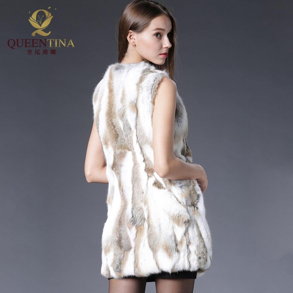 Sexy Fur Vest Women Rabbit Fur Vest Իրական մորթյա - Կանացի հագուստ - Լուսանկար 3