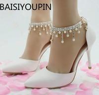 Women Sweet Tassel Beaded Bride Diamond Shoes Woman Large Size 41 High Heels Sandals Pointy Shoes Female Dress Wedding Shoes