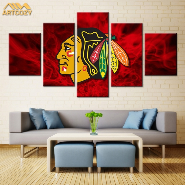 Artcozy 5 Panel Canvas Painting Spray Printing Chicago Blackhawks Wall Pictures Home Decoration Paint Waterproof Pipe