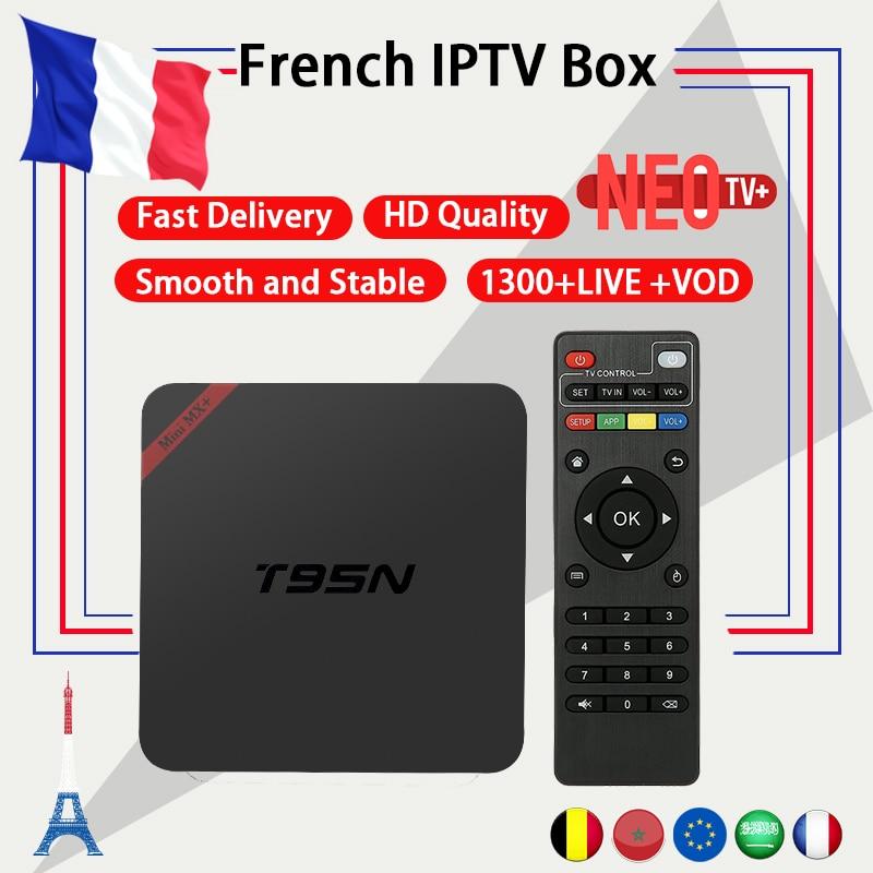 French IPTV Android TV Box T95N with 1300+ NEO IPTV Europe French Arabic Belgium Morocco PayTV Smart TV iptv m3u Set top Box dalletektv t95n android 6 0 tv box amlogic s905x quad core 1g 8g set top box 600 1year free iptv arabic europe uk french tv box