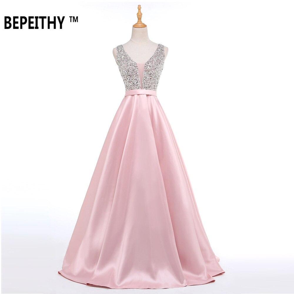 Bepeithy langes abendkleid mit v-ausschnitt perlen mieder sexy prom ...