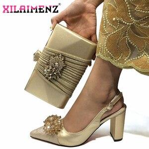 Image 2 - Hoge Kwaliteit Vrouw Luxe Kristal Schoenen En Portemonnee Set Voor Party Nigeriaanse Schoenen Bijpassende Tas Hoge Hakken Bruiloft Schoenen En tas Set