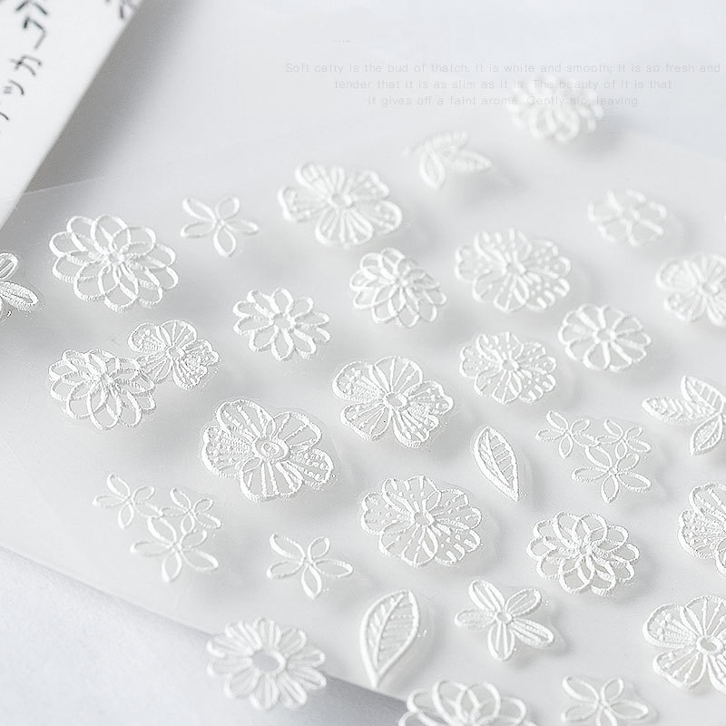 Image 5 - 5D Acrylic Engraved nail art sticker white  Various shapes  flowers Template Decals Tool DIY Nail Decoration Tools Z0134-in Stickers & Decals from Beauty & Health