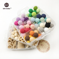 Let's Make DIY Nursing Jewelry Combination Package Crochet Beads Blending Natural Round Geometry Wooden Beads Wood Ring Teether