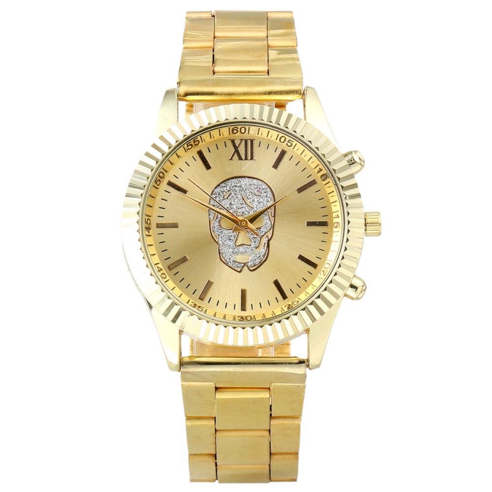 Relogio Feminino 2017 Newest Fashion Arensceous Rhinestone Casual Quartz Watch Women Full Steel Watch Skull Watches