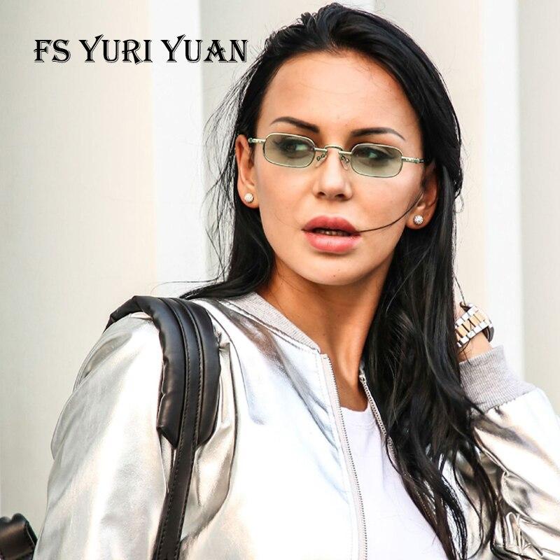 FS YURI YUAN Fashion Retro Punk Sunglasses Small Size Square Frame Ocean Color Lens Women's Luxury Sunglasses Brand Designer3386