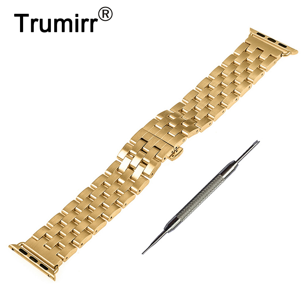 Rustfrit stål bånd armbånd armbånd til 38mm 42mm iWatch Apple Watch / Sport / Edition med adapter & alle links aftagelige