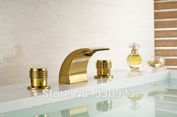 ФОТО Newly US Free Shipping Waterfall Widespread Bathtub Faucet Shower Faucet Dual Handles Three Holes Golden Polished Deck Mounted