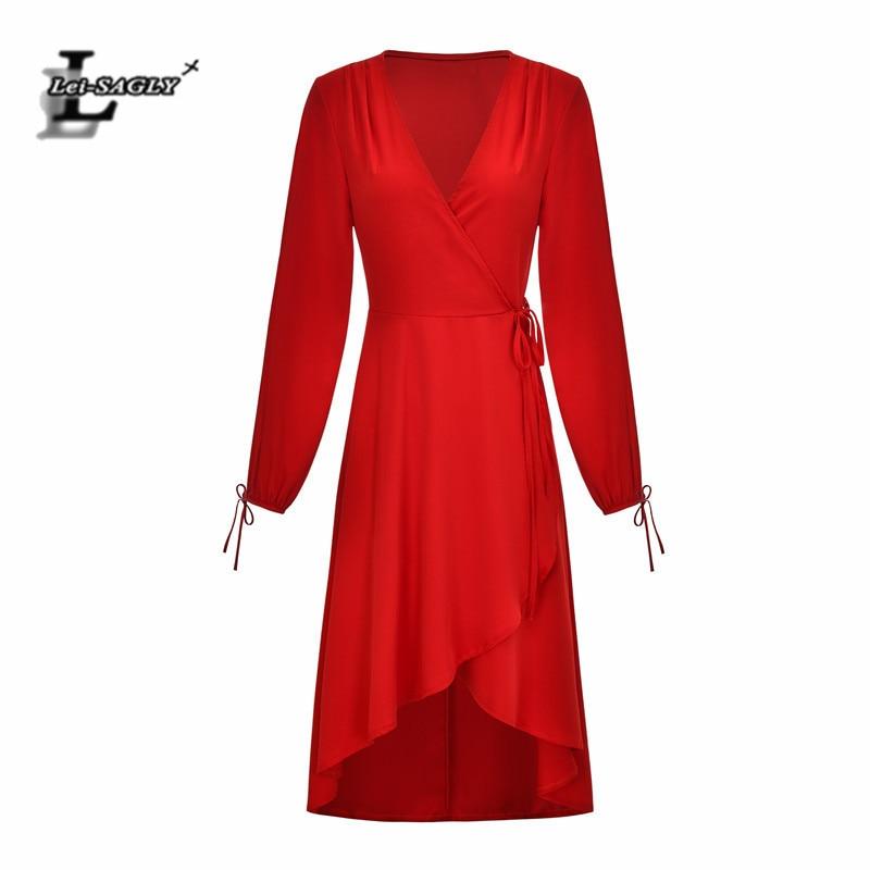 Lei SAGLY Fashion Women Long SLeeve Summer Dress High Quality Chiffon 2019
