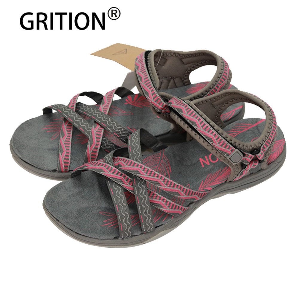 GRITION Women Flat Sandals Girls Summer Outdoor Shoes Sport Open Toe Adjustable Sandals Black Gray Pink Sand  Zapatos Mujer women t strap moccasins flat shoes low heel sandals black gray pink pointed toe ballet flats summer buckle zapatos mujer z193