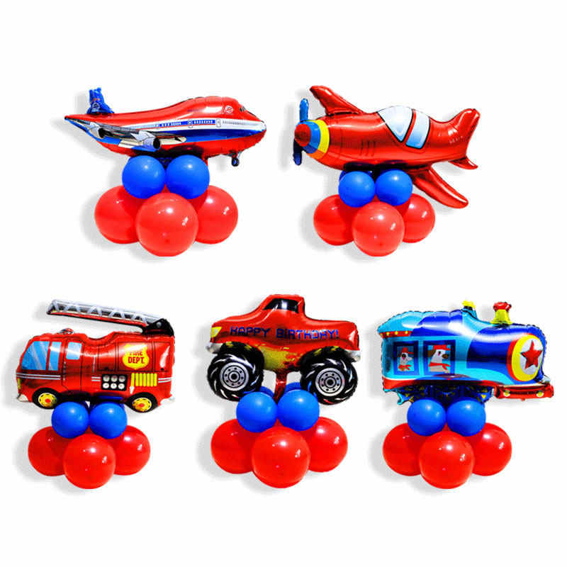 Cartoon Car Foil Balloon Red Blue Car Truck Train Plane Balloons Children Gifts Happy Birthday Party Decorations Globos Big Ball