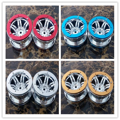 4PCS plating 2.2 inch Beadlock Wheel Rim Hubs for 1/10 RC Monster truck Rock Crawler rr10 r1 scx10 rc4wd Axial SCX10 YETI TF2