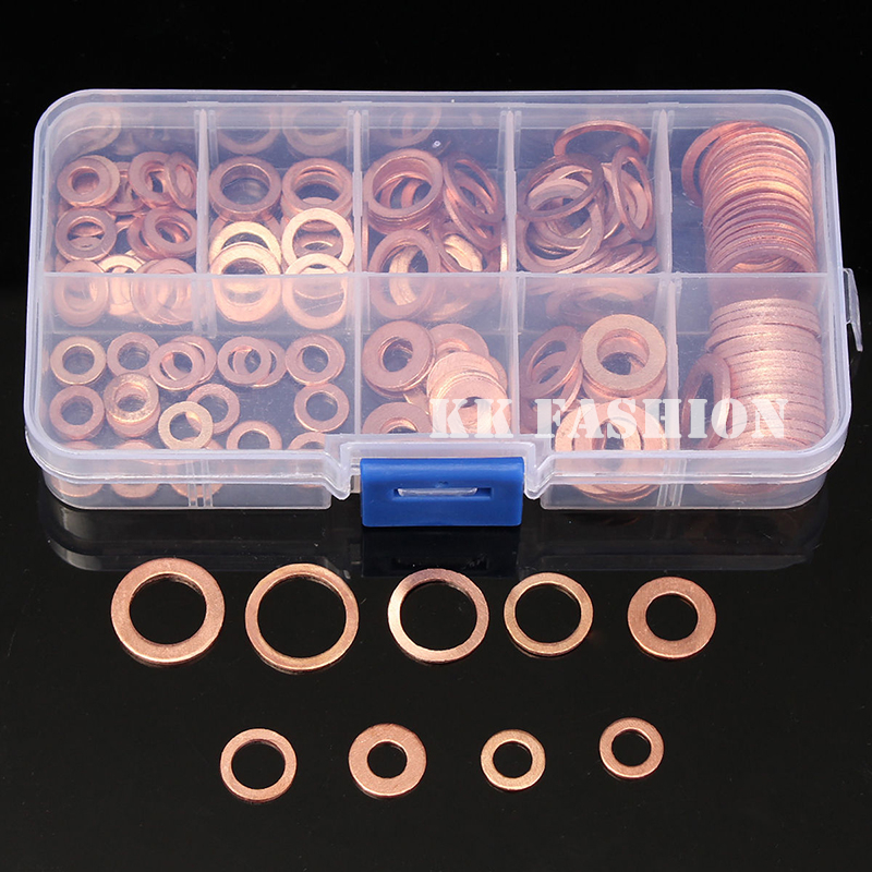 200pcs/Set M5-M14 Solid Copper Washers Flat Ring Sump Plug Oil Seal Assorted Set Professional Hardware Accessories Kit with Case200pcs/Set M5-M14 Solid Copper Washers Flat Ring Sump Plug Oil Seal Assorted Set Professional Hardware Accessories Kit with Case