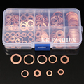 200pcs/Set M5-M14 Solid Copper Washers Flat Ring Sump Plug Oil Seal Assorted Set Professional Hardware Accessories Kit with Case