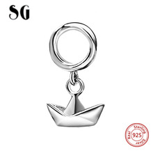 SG New Design Style Silver Bead Origami boat Charm Beads Fit Pandora Bracelets Charms For Jewelry Making Love Gifts
