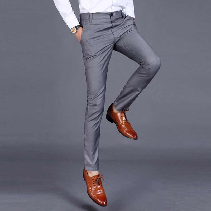 Loldeal Suit Pants Trousers Slim-Fit Stretch Male Front Flat Men
