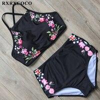 RXRXCOCO High Neck Bikini Flower Printed Swimsuit Women Sexy Backless Swimwear High Waist Bikini Set Halter