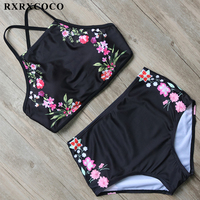 RXRXCOCO High Neck Bikini Flower Printed Swimsuit Women Sexy Backless Swimwear High Waist Bikini Set Halter