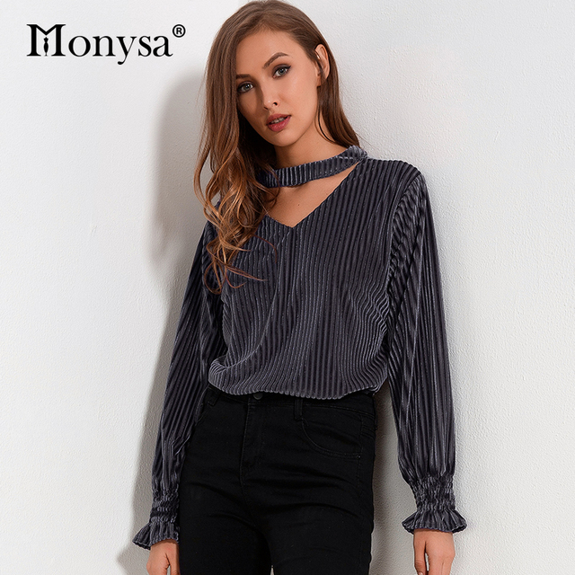 Casual Velvet Blouses Women 2018 Autumn New Arrivals Fashion Long Sleeve Shirts Ladies V Neck Streetwear Tops Pink Black Gray
