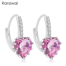 Фотография Nanviee Women 925 Sterling Silver Clip Earrings Heart Shaped Zircon Crystal Earrings Love Gifts 8 Colors Choice AER003