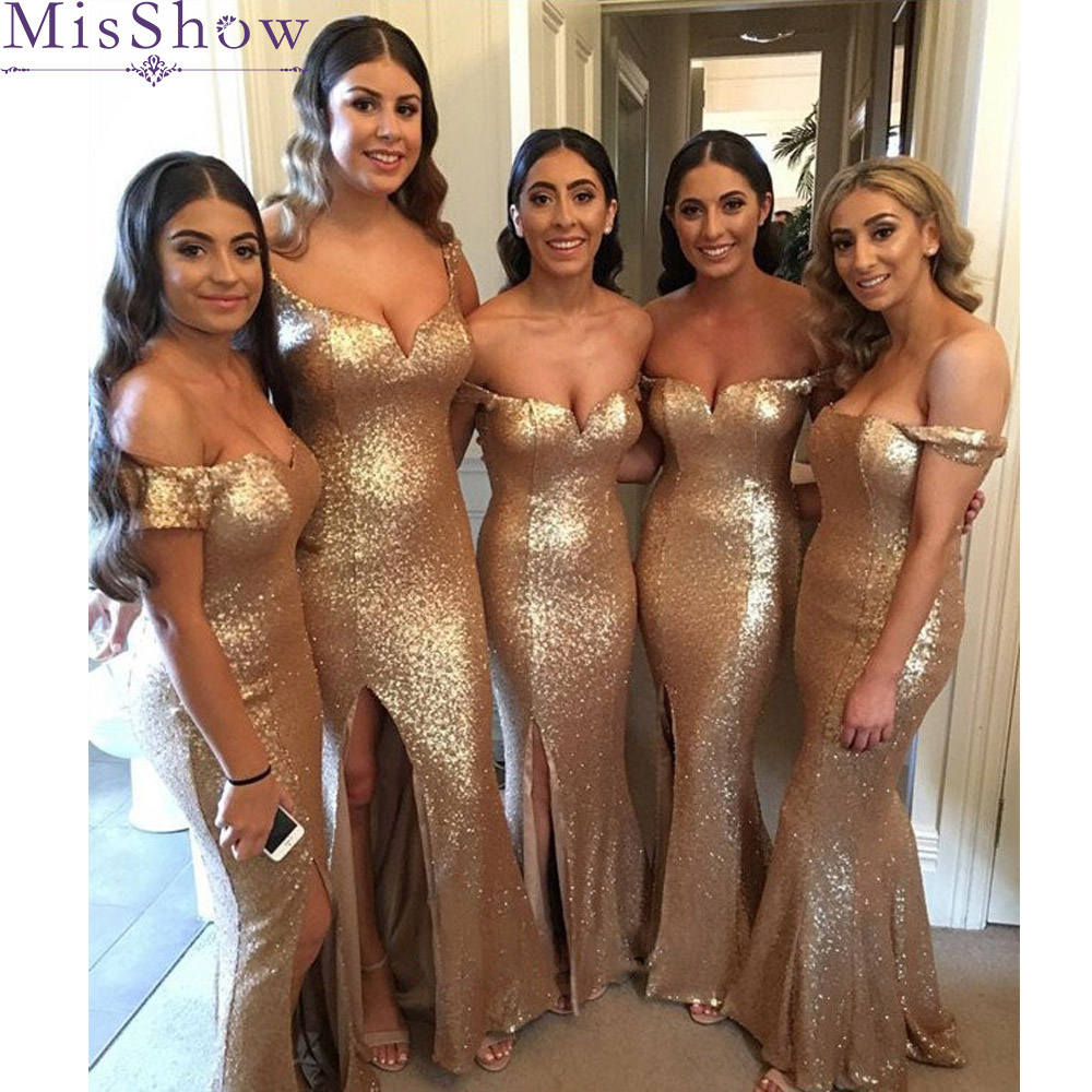 Mermaid Long Bridesmaid Dresses Sexy Off Shoulder 2019 Gold Sequins Elegant Women Party Dress For Wedding Guest Party Gowns