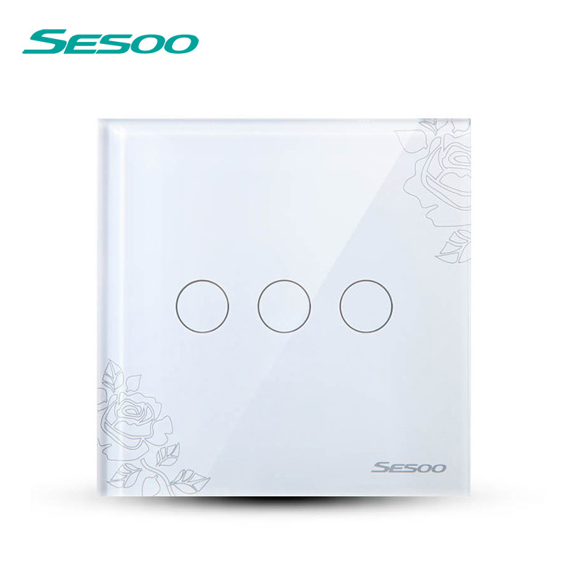SESOO EU/UK Touch Switch LED Wall Light Switch 110-240V 3 Gang 1 Way Waterproof Crystal Tempered Glass Panels lace smart home us au wall touch switch white crystal glass panel 1 gang 1 way power light wall touch switch used for led waterproof