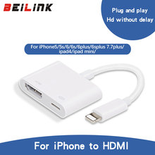 BEILINK New Arrive High Quality Light to AV HDMI/HDTV TV Digital Cable Adapter For iphone 5 5S 6 6s For ipad 5 For iphone 7 plus