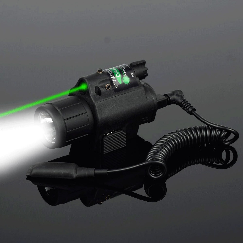 200 Lumen Tactical Combo 2 In 1 Tactical LED Flashlight +Red Laser Sight Combo For 20MM Rail Pistol Mini Glock Pistol Gun Light