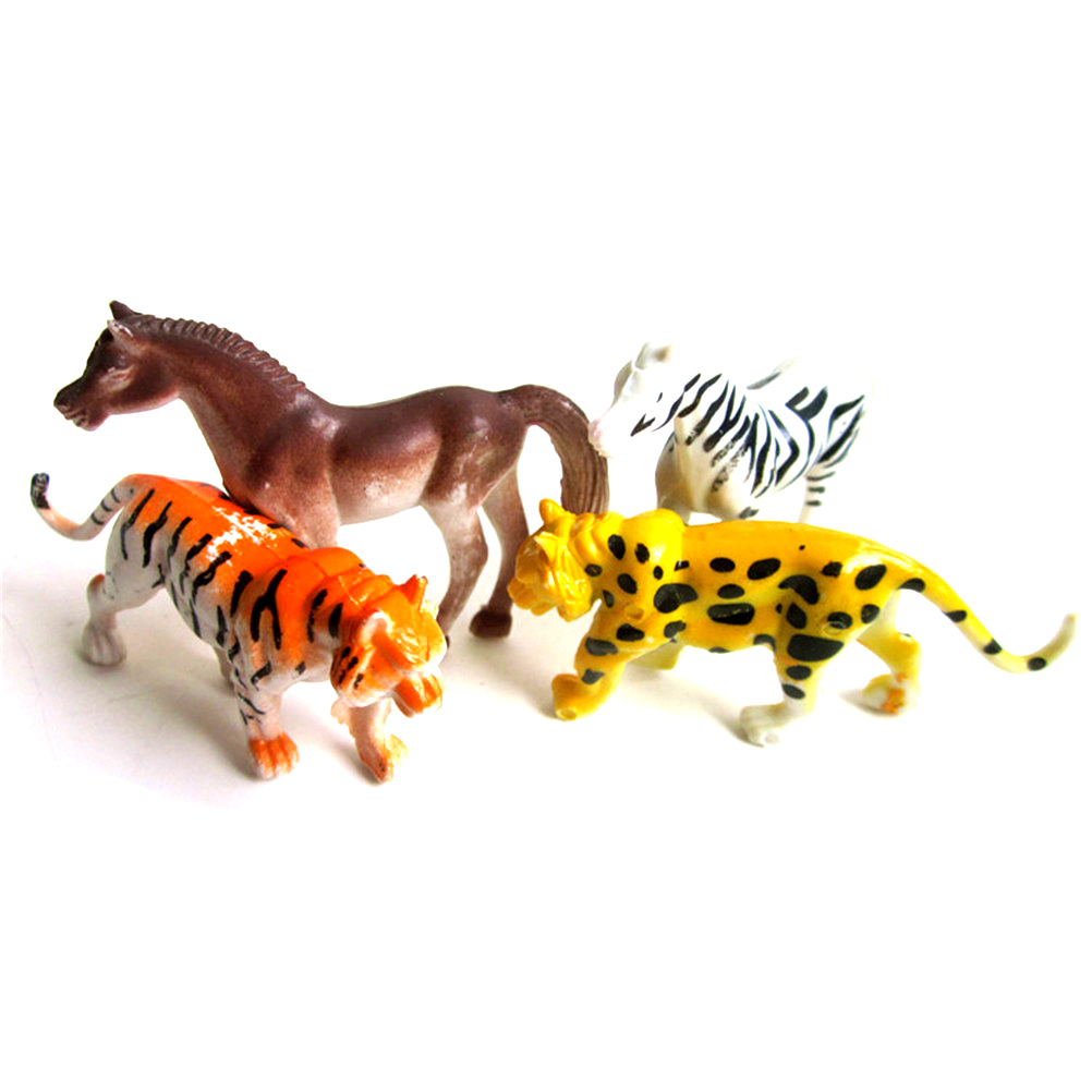 4pcs/lot Plastic Tiger Lion Zebra Zoo Animal Figure For Kids Lovely Animal Models Action