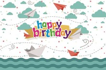 Laeacco Baby Birthday Party Paper Plane Child Pattern Photographic Backgrounds Customized Photography Backdrops For Photo Studio