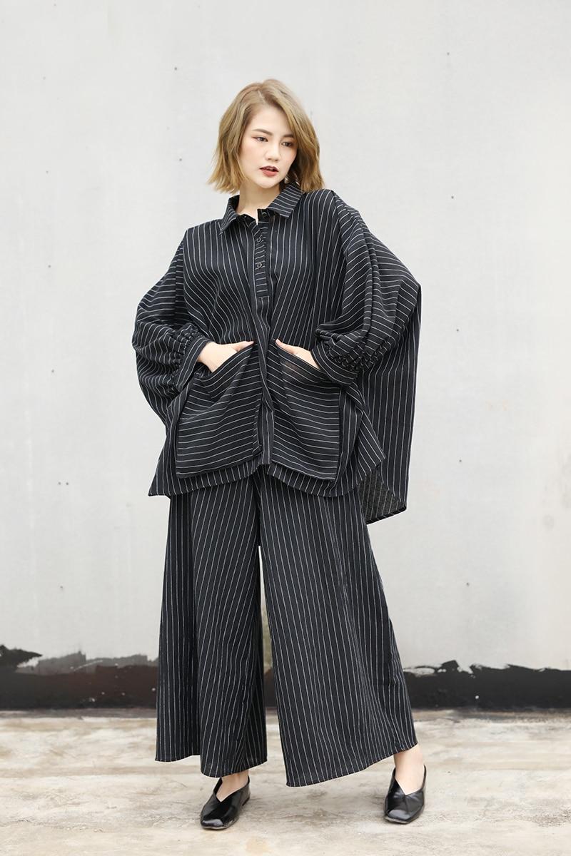 2018 Female New Autumn Plus Size Fashion Striped Loose Casual Big Pocket Loose Shirt + Pant Two Pieces Set