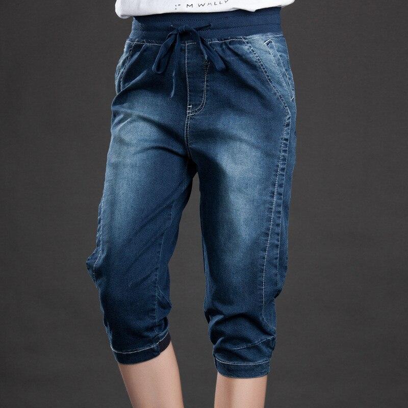 Plus Size 5XL Summer Stretch Jeans Woman Lace Up Loose Denim Harem Pants 200 Pounds Large Size Capris Vintage Ladies Jeans C4522