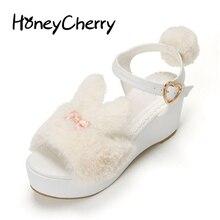 Japon de Nouveau Lolita Doux lapin D'été Sandales femmes Chaussures à talons hauts Muffin Fond Épais Lolita chaussures Plate-Forme Sandales