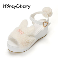 Japan's New Lolita Sweet rabbit Summer Sandals womens Shoes High heeled Muffin Bottom Thick Lolita shoes Platform Sandals