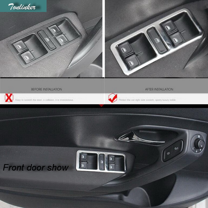 Tonlinker Cover case sticker For VW POLO 2012-2016 Trim 4PCS Car Styling Stainless Steel Interior Door Window Lift Switch Panel