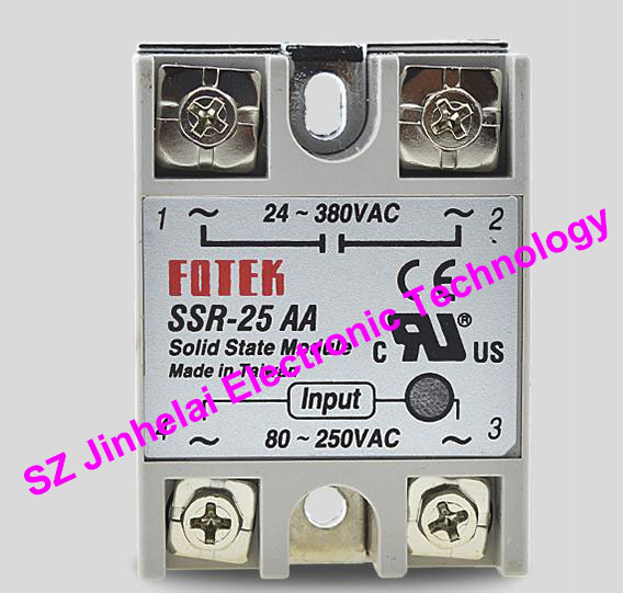 New and original FOTEK Single-phase AC solid state relay  SSR-25AA    25A   24-380VAC   80-250VAC 100% new and original fotek photoelectric switch a3g 4mx mr 1 free power photo sensor
