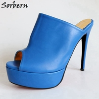 Sorbern 16Cm Slides Women Open Toe Summer Shoes Ladies High Heels Slippers Platform Slippers Women Size 32 52 Womans Shoes 2018