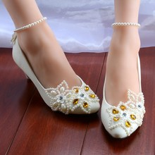 New Fashion Five Stars Women Wedding Shoes Pearls Bandage Women Pumps Custom Heels Sexy Bridal Party Shoes