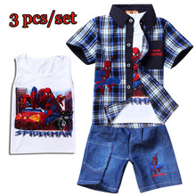 New arrival 2017 Spiderman Summer Children clothing sets Baby boys t shirts+shorts pans 3pc/set kids clothes 0-2 years old