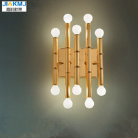 American Creative Simple bamboo wall lamps personality post modern living room bedroom bedside lamp hotel aisle study wall ligh