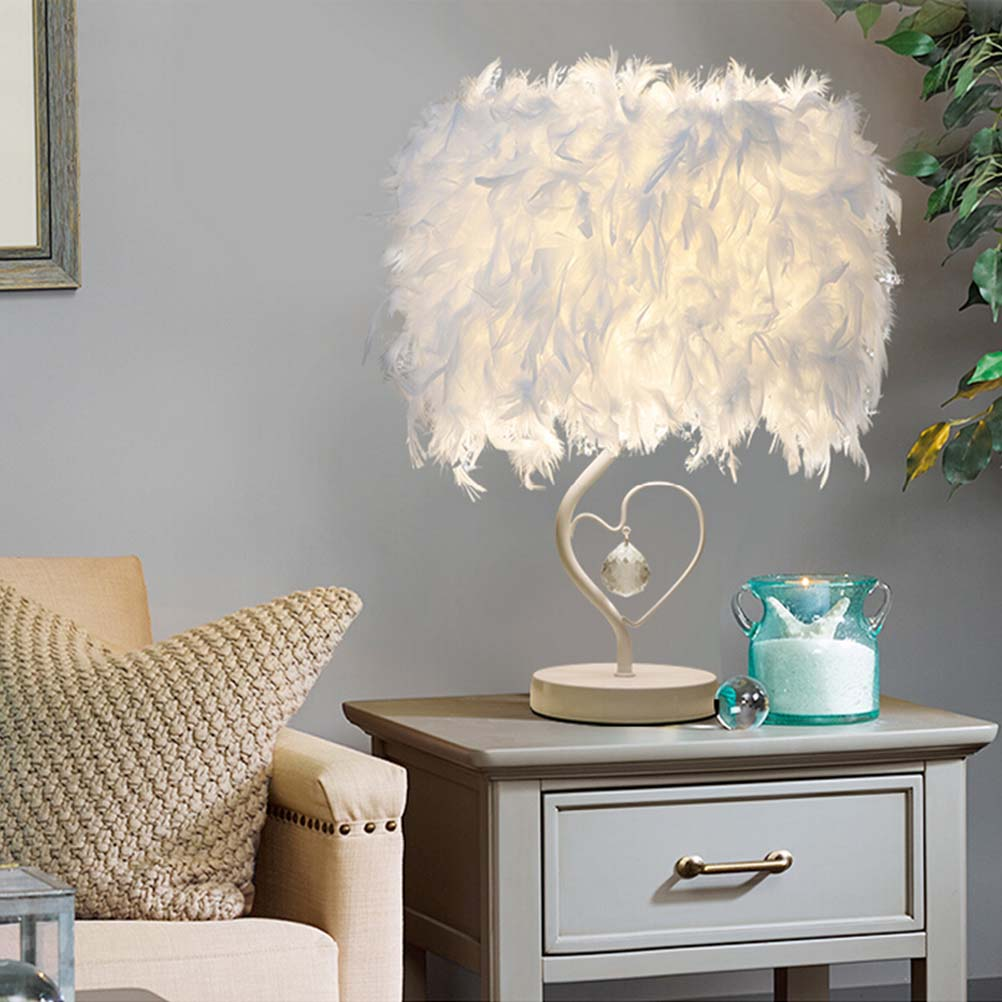 Bedside Reading Room Sitting Room Heart Shape Feather Crystal Table Lamp Light With EU-Plug Art Home Deco Free Shipping office table decoration led desk lamp nightlights bedside room sitting room heart shape feather crystal table lamp