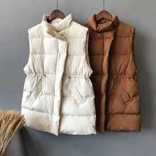 Stand Collar Thick Vest Woman 2019 Winter Warm Quilted Waistcoat Female Down Tops