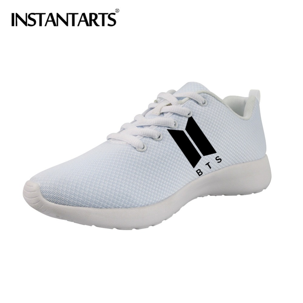 INSTANTARTS Youth Girl Idol BTS Casual Sneakers 3D Bangtan Women Flats Shoes Kpop BTS Design ...