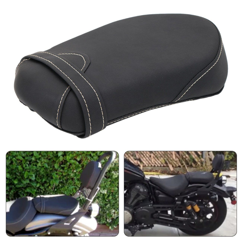 Motorcycle Black Passenger Pillion Rear Seat Cushion Synthetic Leather for 2014 2017 Yamaha Star Bolt XV950