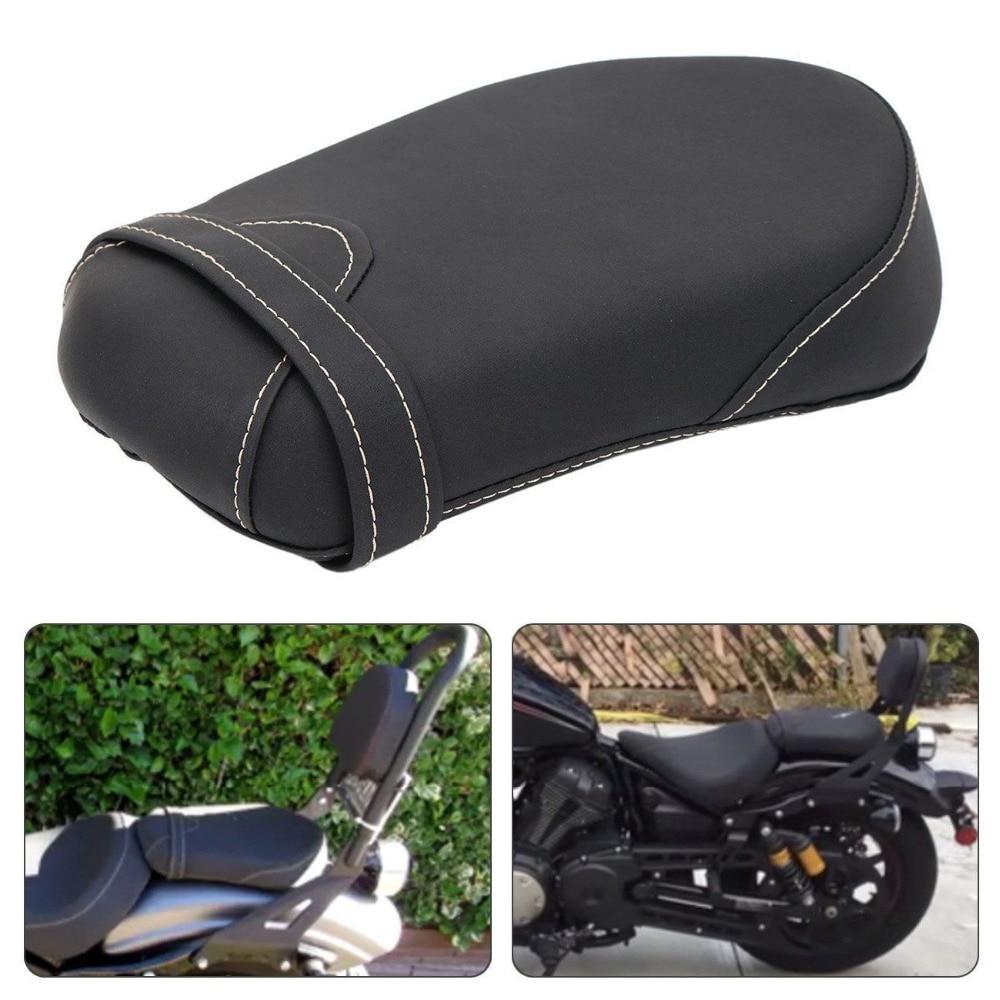 Motorcycle Black Passenger Pillion Rear Seat Cushion Synthetic Leather for 2014 2017 Yamaha Star Bolt XV950