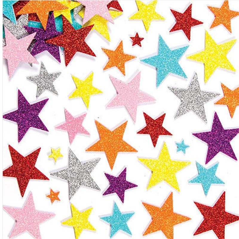 50Pcs 3D Glitter Star Adhesive Foam Sticker Card Craft Cardmaking Scrapbooking Home House Room Party Decoration Kid DIY Toys