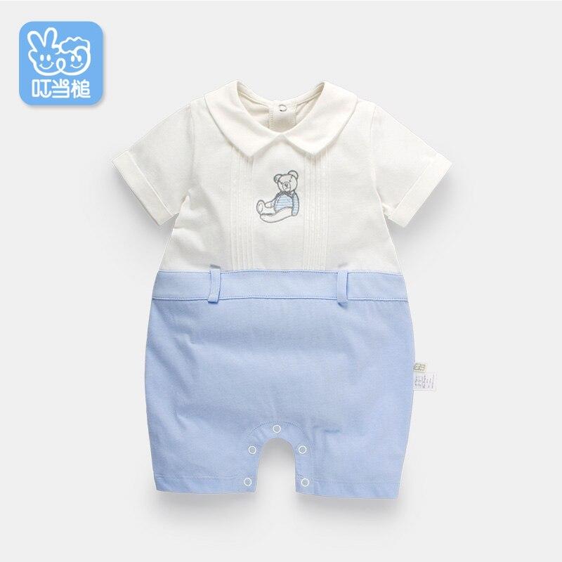 Dinstry Baby clothes summer newborn short-sleeved new born baby cartoon bear infant   romper