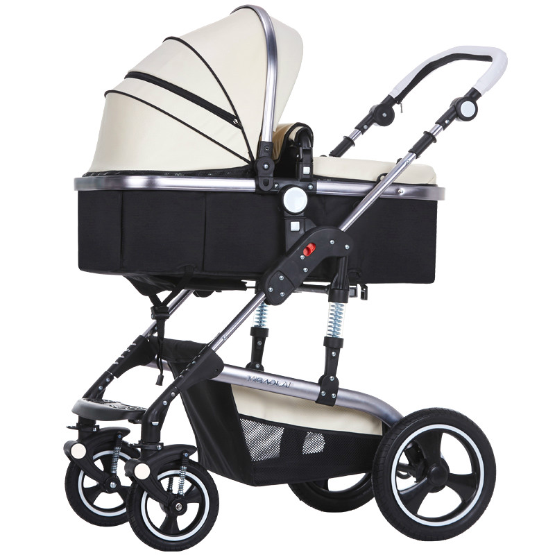 YIBAOLAI high landscape luxury PU baby stroller widened seat folding trolley lying shocked cart 3 in 1 aluminum alloy carriage mige stroller baby trolley cart folding baby carriage baby cart can be lying on the baby cart portable cart pram with 3 gift